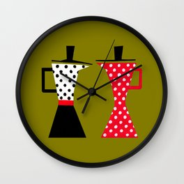 Ole coffee pot in olive green Wall Clock