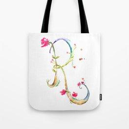 Letter R watercolor - Watercolor Monogram - Watercolor typography - Floral lettering Tote Bag