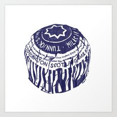 Tea cake (blue) Art Print
