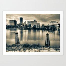Downtown Little Rock City Skyline Over The Arkansas River - Sepia Edition Art Print