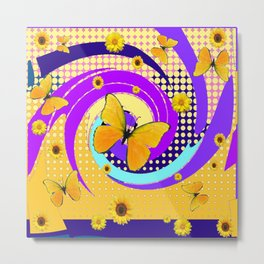 YELLOW BUTTERFLY PURPLE SPRING HAS SPRUNG Metal Print