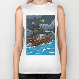 Pirate Ship in Stormy Ocean Biker Tank