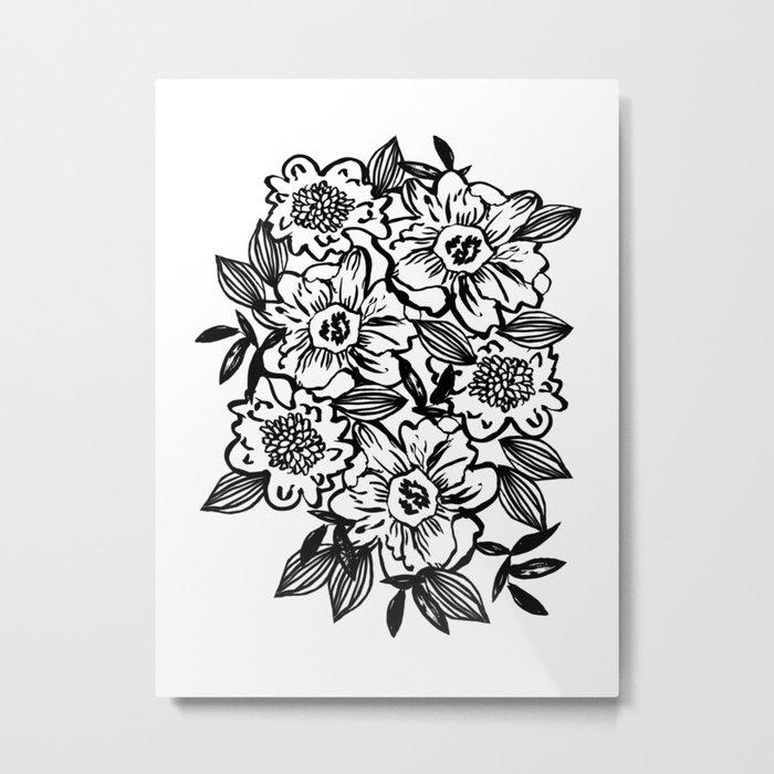 Ella - abstract floral flowers minimal modern black and white girly gender neutral boho painting Metal Print