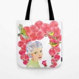 Warblers Visit Rose's Garden Trellis Tote Bag