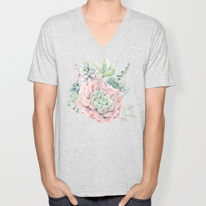 Pink Succulents by Nature Magick Unisex V-Neck
