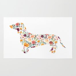 Dachshund - Watercolor/Floral Rug