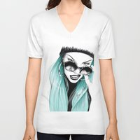 turquoise V-neck T-shirts featuring Turquoise by HausOfAx