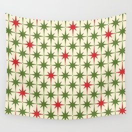 Christmas Starbursts - Atomic Age Xmas Holiday Pattern in Red and Retro Green on Cream Wall Tapestry