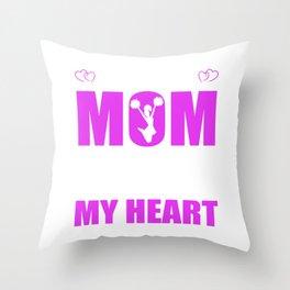 Cheerleader Moms Full Heart Mothers Day T-Shirt Throw Pillow