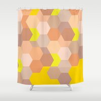 honeycomb Shower Curtains featuring Honeycomb 	 by Colocolo Design | www.colocolodesign.de