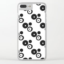 Modern abstract black and white spotted geometric pattern Clear iPhone Case