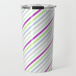Purple green multicolor stipes Travel Mug