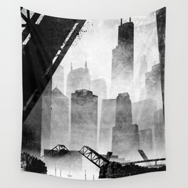Sears Tower (from the Kinzie Bridge, Chicago, IL) Wall Tapestry