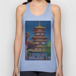 Japanese Woodblock Print Vintage Asian Art Colorful woodblock prints Pagoda Shinto Shrine Unisex Tank Top