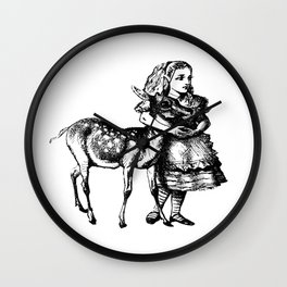 Alice and the Fawn in Black with Transparent Background Wall Clock