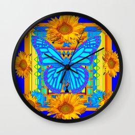 Cobalt Blue Sunflower Butterfly Art Wall Clock