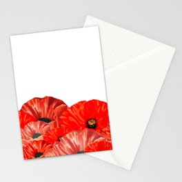 Poppies on White Stationery Cards