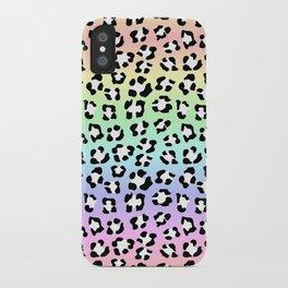 Soft Pastel Rainbow Leopard Spots Leopard Spots Animal Print iPhone Case
