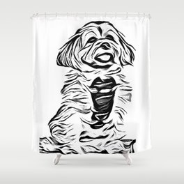 Copper the Havapookie Sketch Shower Curtain