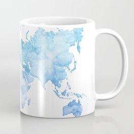 Light blue watercolor world map Coffee Mug