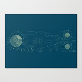 Earth-Moon Transit in Blue Canvas Print
