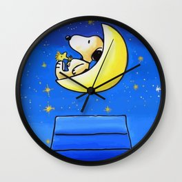 Snoopy in the moon Wall Clock