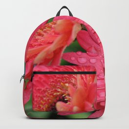 Pink Gerber Daisy with Rain Drops Backpack