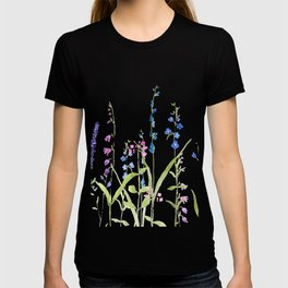 purple blue wild flowers watercolor painting T-shirt