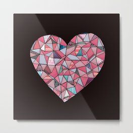 Geometric Patterned Heart  Metal Print