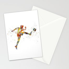 Soccer player in watercolor-17 Stationery Cards