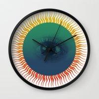 third eye Wall Clocks featuring Third Eye by ochre7