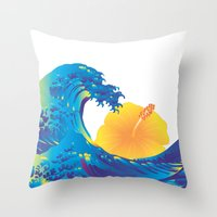 hokusai Throw Pillows featuring Hokusai Rainbow & Hibiscus_Y  by FACTORIE