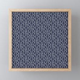 Fish Hooks in Navy Blue Framed Mini Art Print