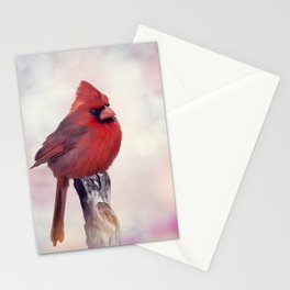 Male Northern Cardinal perches on a stump Stationery Cards