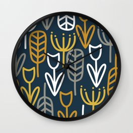 Cheerful Garden Minimalist Pattern in Light Mustard, Dark Mustard, White, Gray, and Navy Blue Wall Clock