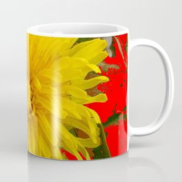 DECORATIVE  YELLOW DANDELION BLOSSOM ON ORGANIC RED ART Coffee Mug