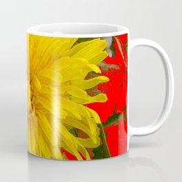 DECORATIVE  YELLOW DANDELION BLOSSOM ON ORGANIC RED ART Coffee Mug