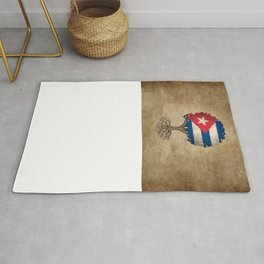 Vintage Tree of Life with Flag of Cuba Rug