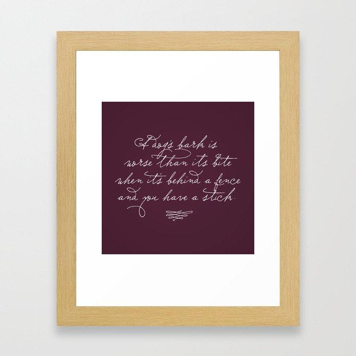 Proverbs: A Dog's Bark Framed Art Print