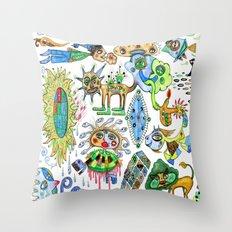 watercolor doodle Throw Pillow