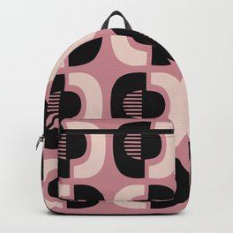 Retro Mid Century Modern Pattern 115 Black Dusty Rose and Beige Backpack