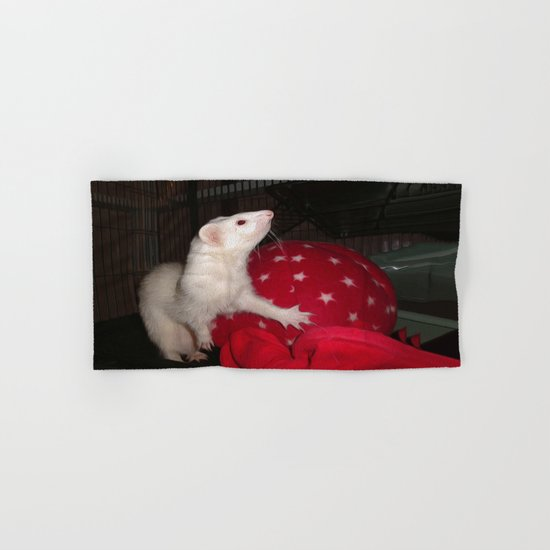 The Ivory Ferret and the Starry Red Bouncy House Hand & Bath Towel