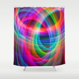 Spirograph rainbow light painting Shower Curtain