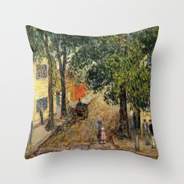 Classical Masterpiece 'Duke Street, Newport, Rhode Island' by Frederick Childe Hassam Throw Pillow