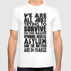 We are all just trying to Survive... MEDIUM Mens Fitted Tee White
