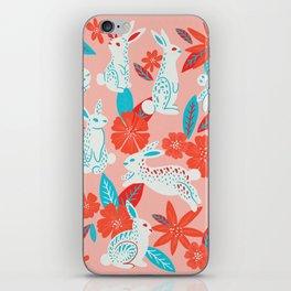 Bunnies & Blooms – Magenta & Cyan iPhone Skin