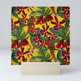 Vintage & Shabby Chic - Colorful Parrots tropical Jungle Pattern Mini Art Print