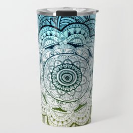 Mandala Blue Yellow Travel Mug