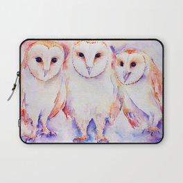 Watercolor Barn Owl Family 3 Barn Owls Abstract Laptop Sleeve