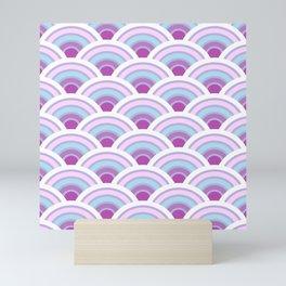 Pastel Japanese Waves Seigaiha Pattern Vaporwave Aesthetic Mini Art Print